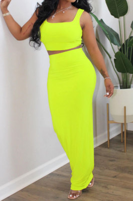 Yellow Euramerican Sexy Women Sleeveless Solid Color Tank Tight At Home Casual Skirts Sets KZ152-2