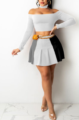 White Wholesale A Word Shoulder Long Sleeve Crop Top Spliced Ruffle Pleated Skirts TRS1175-2