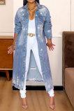 Light Blue Trendy Women Hole Long Sleeve Cardigan Jeans Coat JLX6083