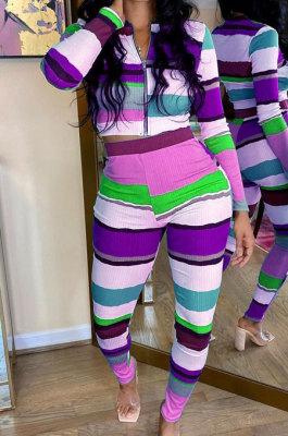 Purple Autumn Winter Stripe Ribber Print Long Sleeve Zipper Top Pencil Pants Sets TK6138-1