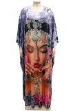 Rose Red Women Swing Long Sleeve Round Collar Printing Plus Long Dress YF1683