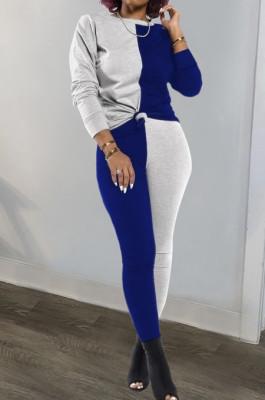 Gray Blue Euramerican Sexy Women Autumn Spliced Color Block Long Sleeve Long Pants Sets KZ158-3