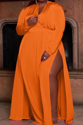 Orange Women Long Sleeve Loose V Collar Mid Waist Pure Color Split Plus Long Dress JR3655-2