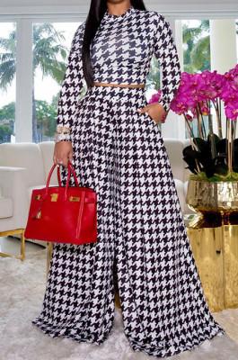 Black Euramerican Autumn Winter Women Plaid Printing Long Sleeve Round Collar Loose Pants Sets KZ2139-4