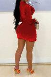 Red Euramerican Women Sexy Korea Velvet Mesh Spaghetti Spliced Long Sleeve SH7283-2