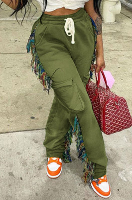Army Green Euramerican Casual Fashion Pure Color Stereoscopic Pocket Tassel Tied Long Pants MLM9076-6
