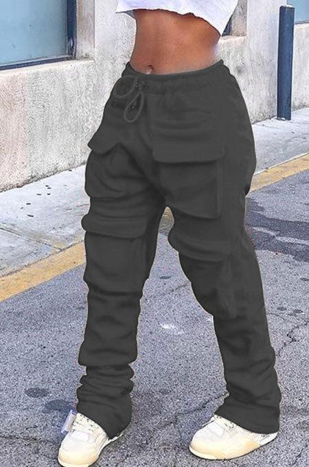 Black Women Pure Color More Pocket Mid Waist Long Pants SMY8063-3