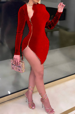 Red Euramerican Women Sexy Korea Velvet Fashion Double Zipper Long Sleeve Autumn Winter Pure Color Mini Dress SH7281-2