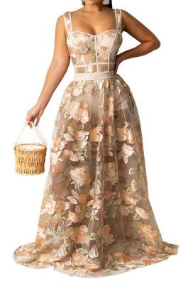 Apricot Women Sexy Condole Belt Embroidered Net Cloth Fashion Jumpsuits Skirts Sets YF9037B