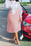 Pink Simple Chiffon Pure Color Pleated Skirts TRS1177-1