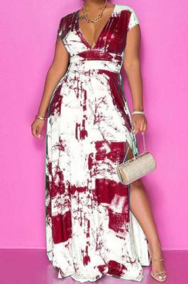 Wine Red Summer Sexy Digital Print V Collar Split Maxi Dress SZS8047-1
