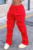 Red Women Pure Color More Pocket Mid Waist Long Pants SMY8063-1