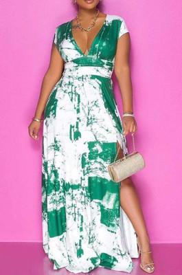 Cyan Green Summer Sexy Digital Print V Collar Split Maxi Dress SZS8047-3