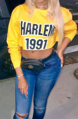 Yellow Women Long Sleeve Letters Printing Casual T shirts SMY8052