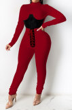 Wine Red Euramerican Women Solid Color Spliced Tight Sexy Tied Bandage Zipper Pants Sets HZF57801-2