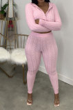 Euramerican Women Pure Color Hooded Cardigan Zipper Sweater Bodycon Pants Sets MA6738