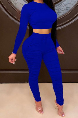 Royal Blue Women Autumn Winter Pure Color Ruffle Long Sleeve Pants Sets QQM4335-7