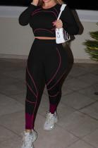 Black Euramerican High Waist Long Sleeve Round Collar Yoga Suit Pants Sets QQM4336-3