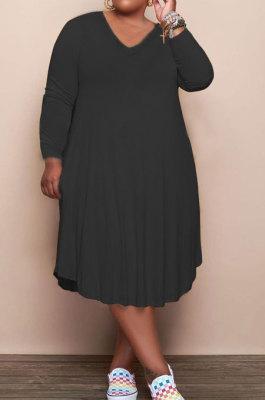 Black Solid Color Women Autumn Long Sleeve Fashion Plus Mini Dress HHB4047-1