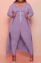 Purple Women Pure Color Strapless Jumpsuits Long Sleeve Coat Plus Two-Pieces HHB4048-4