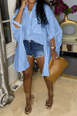 Light Blue Euramerican Women Personality Solid Color Turn-DownCollar Single-Breasted Cardigan Irregular Shirts RMH8941-5