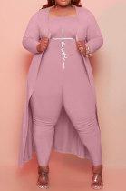 Pink Women Pure Color Strapless Jumpsuits Long Sleeve Coat Plus Two-Pieces HHB4048-3