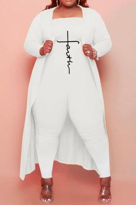 White Women Pure Color Strapless Jumpsuits Long Sleeve Coat Plus Two-Pieces HHB4048-2