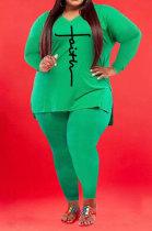 Green Wholesale Autumn Long Sleeve V Neck Top Pencil Pants Fat Woman Sets WA77267-5