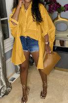 Orange Yellow Euramerican Women Personality Solid Color Turn-DownCollar Single-Breasted Cardigan Irregular Shirts RMH8941-4