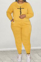 Yellow Women Long Sleeve Solid Color Fashion Printing Loose Casaul Plus Pants Sets GB8031