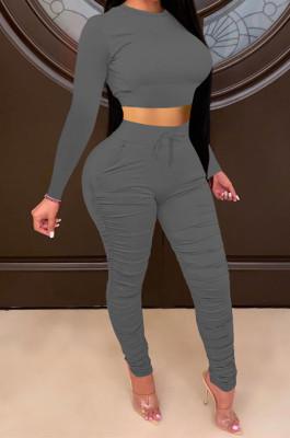 Dark Gray Women Autumn Winter Pure Color Ruffle Long Sleeve Pants Sets QQM4335-8