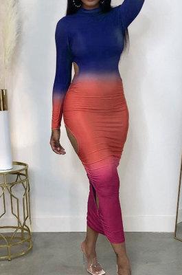 Drak Blue Gradient Long Sleeve High Neck Hollow Out Slim Fitting Maxi Dress ZDD31162-2