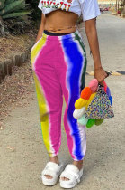 Pink Casual Digital Rainbow Print Ankle Banded Pants ZDD31163-2