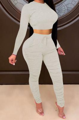 Light Gray Women Autumn Winter Pure Color Ruffle Long Sleeve Pants Sets QQM4335-9