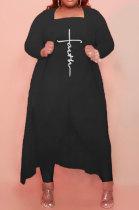 Black Women Pure Color Strapless Jumpsuits Long Sleeve Coat Plus Two-Pieces HHB4048-1