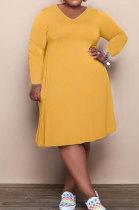 Earth Yellow Solid Color Women Autumn Long Sleeve Fashion Plus Mini Dress HHB4047-3