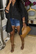 Black Euramerican Women Personality Solid Color Turn-DownCollar Single-Breasted Cardigan Irregular Shirts RMH8941-2