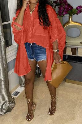 Orange Red Euramerican Women Personality Solid Color Turn-DownCollar Single-Breasted Cardigan Irregular Shirts RMH8941-3
