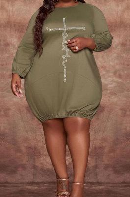 Green Modest Hot Drilling Long Sleeve Round Neck Collcet Waist Fat Woman Dress WA77274-1
