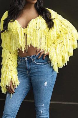 Yellow Fashion Handmade Tassel Cardigan Solid Color Woolen Coat ZS0118-2
