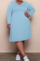 Light Blue Solid Color Women Autumn Long Sleeve Fashion Plus Mini Dress HHB4047-2