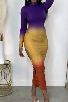 Violet Gradient Long Sleeve High Neck Hollow Out Slim Fitting Maxi Dress ZDD31162-1