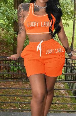 Orange Casual Letter Print Tank Shorts Solid Color Sport Sets YSH86245 -2
