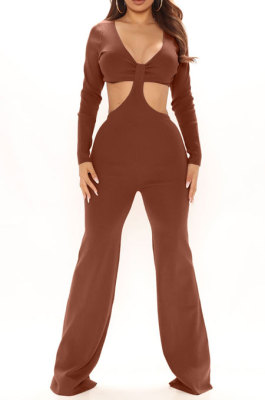 Coffee Club Ribber Long Sleeve V Neck Hollow Out Solid Color Slim Fitting Flare Jumpsuits YT3291-5