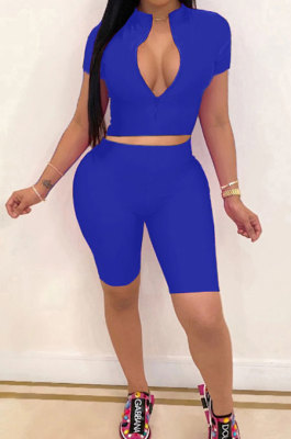 Blue Simple Pure Color Short Sleeve Zip Fron Crop Top Shorts Casual Sets YSH6163-3