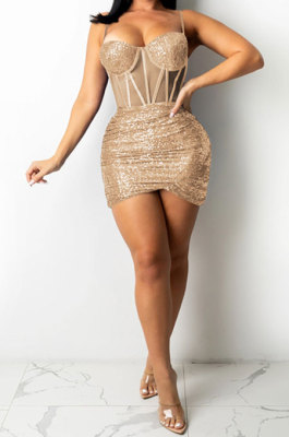 Rose Gold Euramerican Women Pure Color Sequins Sexy Condole Belt Strapless Perspectivity Mesh Spaghetti Skirts Sets Q949-4
