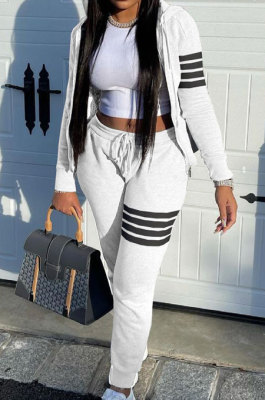 White Newest Striple Spliced Long Sleeve Zipper Hooded Coat Sweat Pants Sets YX9296-3