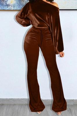 Coffee Wholesale Velvet Long Sleeve Oblique Shoulder Top Flare Pants Solid Color Sets YX9298-1
