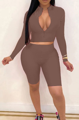 Coffee New Wholesale Long Sleeve Stand Collar Zipper Crop Top Shorts Solid Color Sets YSH6162-6