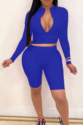 Blue New Wholesale Long Sleeve Stand Collar Zipper Crop Top Shorts Solid Color Sets YSH6162-5
